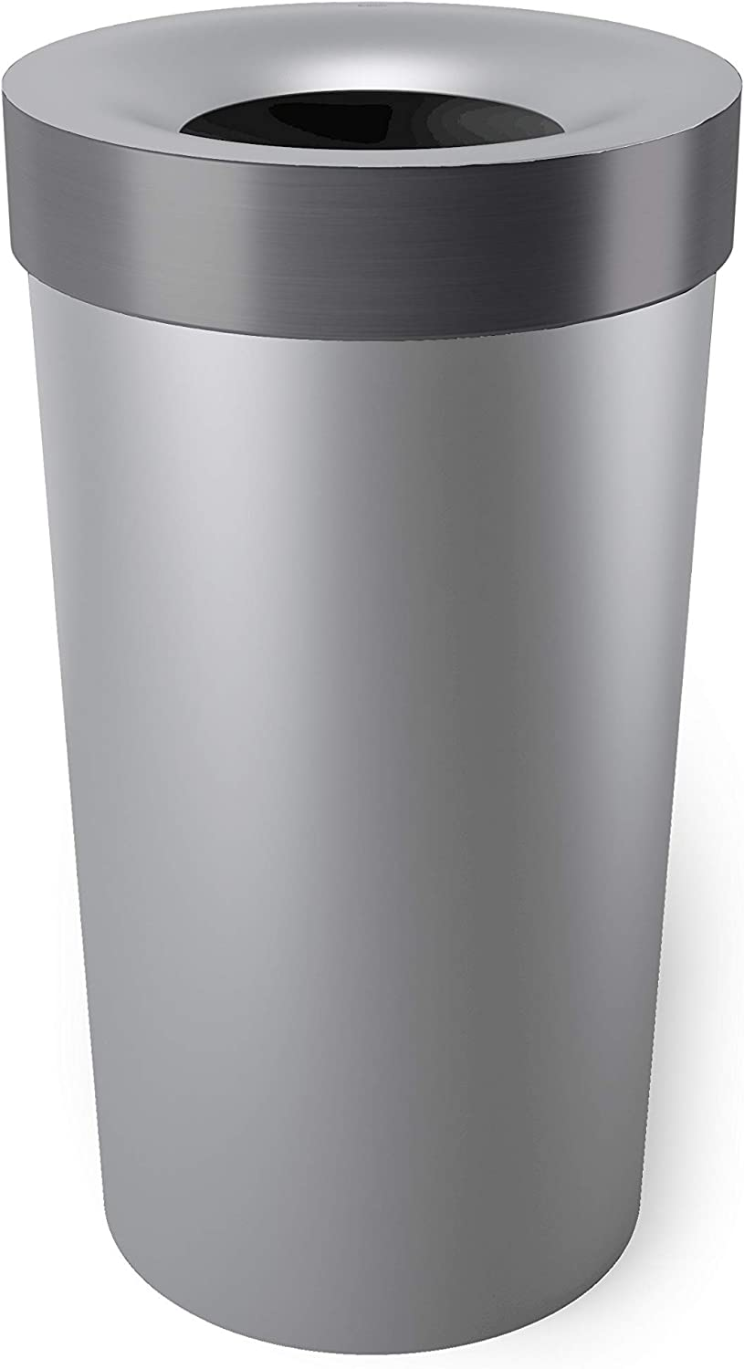 Umbra Vento Open Top 16.5-Gallon Kitchen Trash Large, Garbage Can for Indoor, Outdoor or Commercial Use, 16.5 Gallon, Grey/Steel