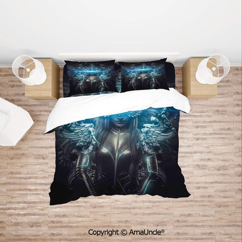 SCOCICI Princess in Royal Gothic Silver Dress Futuristic Female Figure Fairy Muse Image Simple Cover Set Bedsheet Pillowcases Bedding Set 4pc Full Size