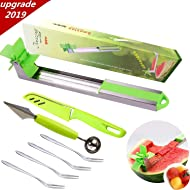Watermelon Windmill Cutter Slicer 18/8(304) Stainless Steel, with 1 Melon Baller and 1 Fruit Knife and 4 Piece Dessert Forks, Fruit Tools Kitchen Gadgets for Home Chefs (Green1)