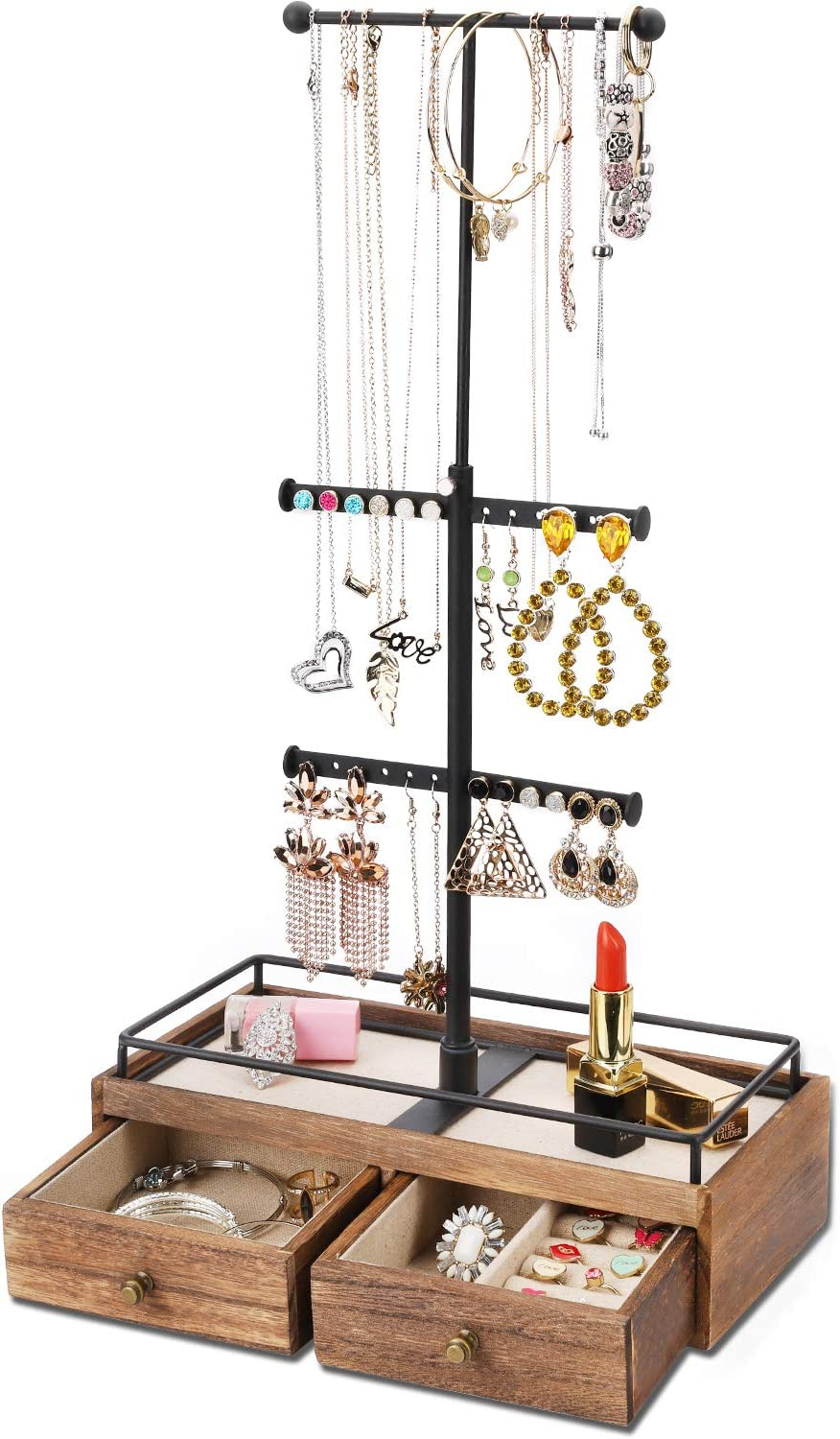 Keebofly Jewelry Organizer Metal Wood Basic Storage Box 3 Tier Jewelry Stand For Necklaces Bracelet Earrings Ring Carbonized Black Amazon Ca Tools Home Improvement