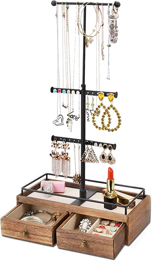 Amazon Com Keebofly Jewelry Organizer Metal Wood Basic Storage Box 3 Tier Jewelry Stand For Necklaces Bracelet Earrings Ring Carbonized Black Home Kitchen