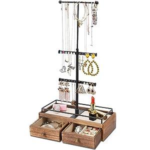 Keebofly Jewelry Organizer Metal & Wood Basic Storage Box - 3 Tier Jewelry Stand for Necklaces Bracelet Earrings Ring Carbonized Black