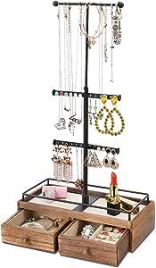Keebofly New Jewelry Organizer, Metal Wood, Black, 3-Tier with Drawer