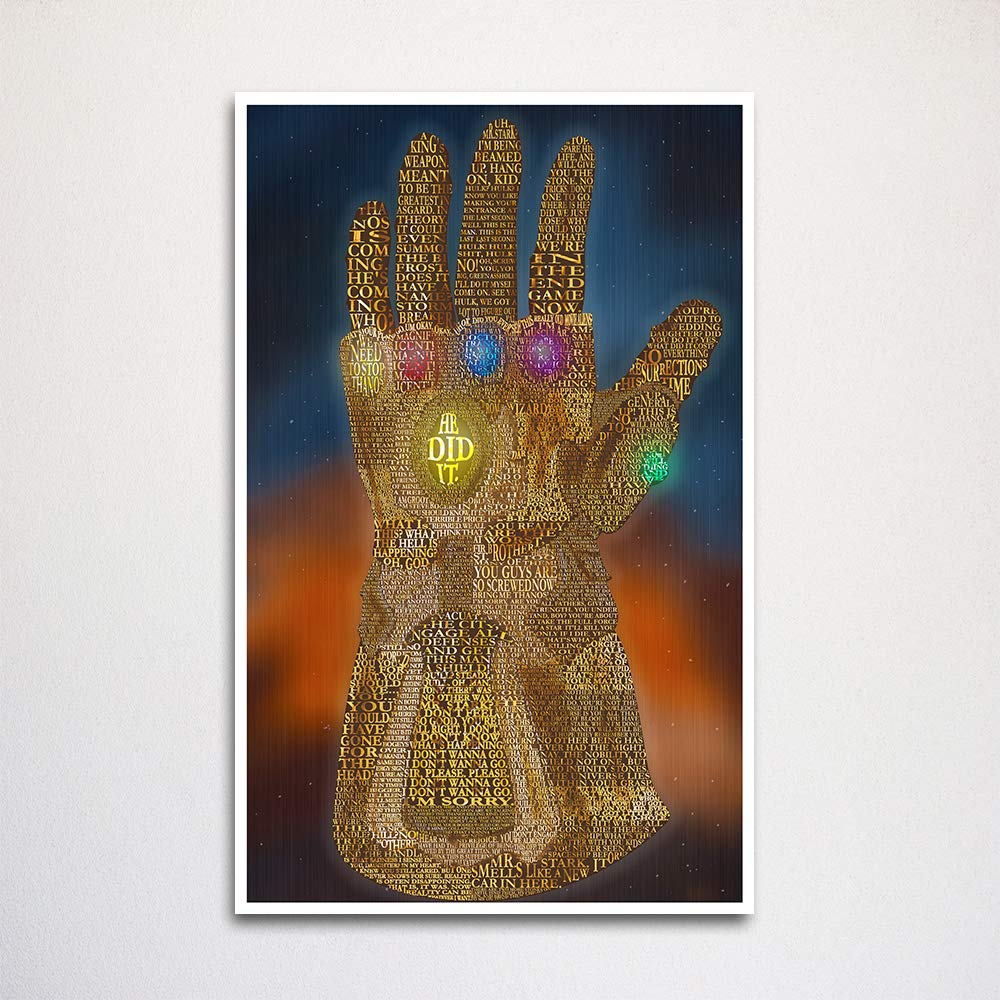 """Avengers Infinity War Thanos Gauntlet word art 11x17"""" unframed 