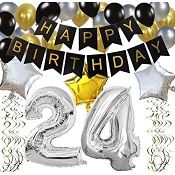 KUNGYO Classy 24th Birthday Party Decorations Kit Black Happy Brithday BannerSilver 24 Mylar Foil Balloon Star Latex BalloonHanging Swirls