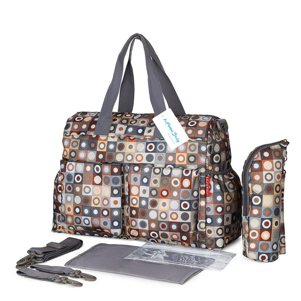 Baby Nappy Changing Set Mummy Tote Handbag Crossbody Shoulder Bag+Adjustable Strap+Stroller Hooks+Diaper Pad+Insulated Milk Bag+Wet Pouch LifenewBaby