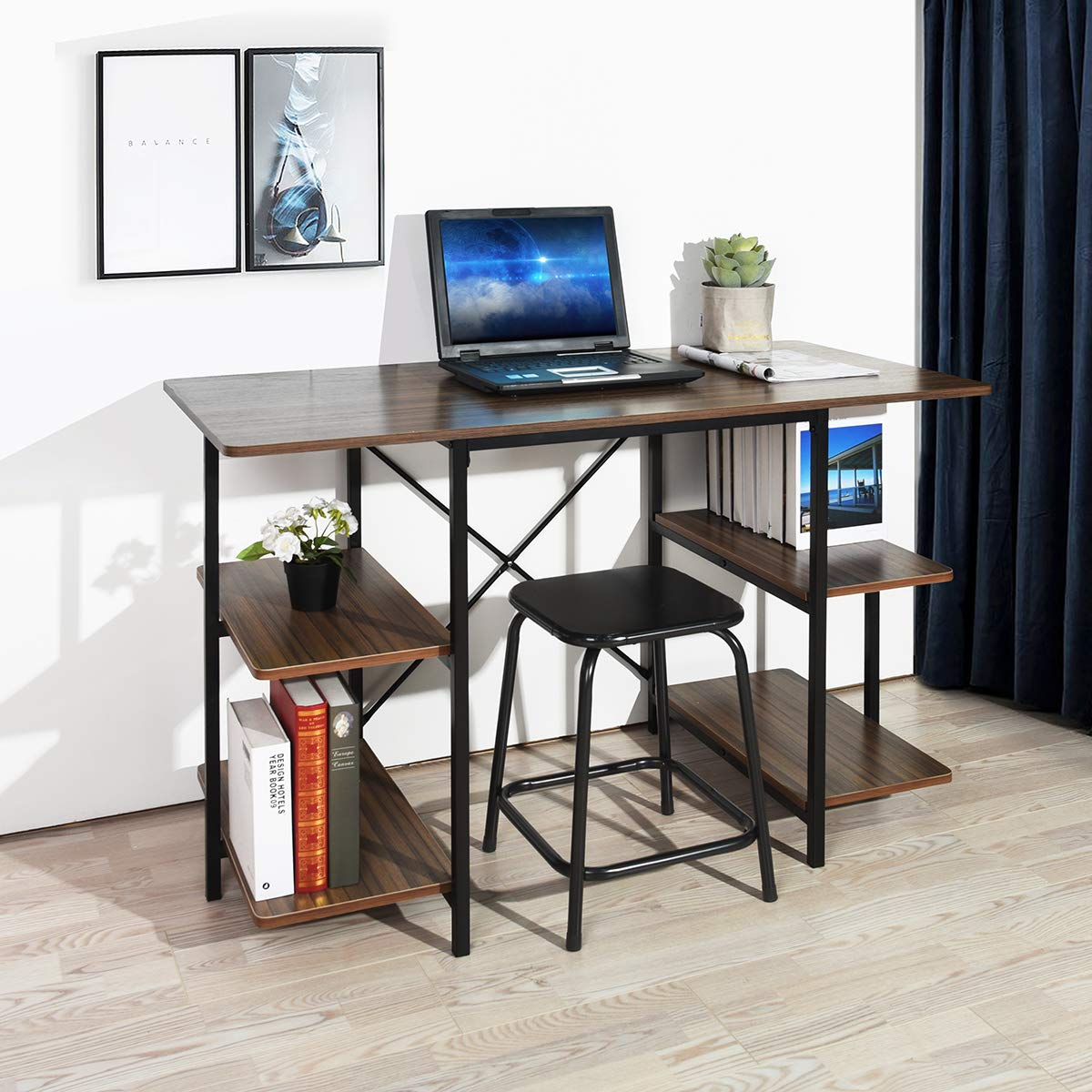 Computer Desks,Modern PC Laptop Study Home Writing Desk with Extra Shelves -Brown