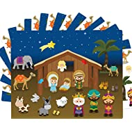 Nativity Stickers with Backgrounds 12 Sets Make-A-Nativity Scene Sticker Christmas Crafts School Supply VBS Classroom Activity