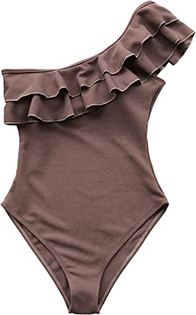 Mycoco Womens One Piece Swimsuits One Shoulder Ruched Ruffle Monokini Bathing Suits