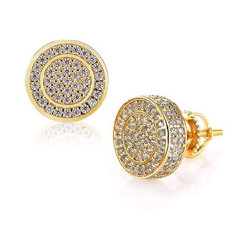 07ab477fa2c1e Mens Gold Hip Hop Earrings 14 Gold Plate Mens Gold Earring for Men Screw  Back Mens Hip Hop Jewelry