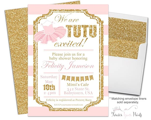 Amazon pink and gold tutu baby shower invitations gold glitter pink and gold tutu baby shower invitations gold glitter tutu baby shower invites ballerina filmwisefo