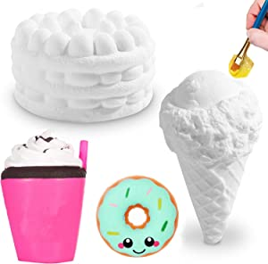 DIY Dessert Paint Your Own Squishies Kit for Kids, Slow Rise Squishies Top Christmas Arts andCrafts Toy for Girl & Boys,Ice CreamFood SquishiesBlank White Squishys Creamy Scented Stress ReliefToy