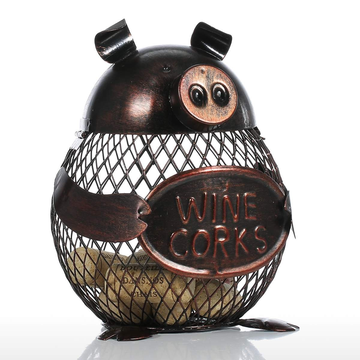 Tooarts Piggy Wine Barrel Cork Cage Container Metal Sculpture Handicraft Gift Home Decor by Tooarts (Image #2)