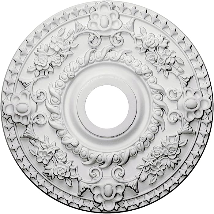 """Ekena Millwork CM18RO Rose Ceiling Medallion, 18""""OD x 3 1/2""""ID x 1 1/2""""P (Fits Canopies up to 7 1/4""""), Factory Primed"""