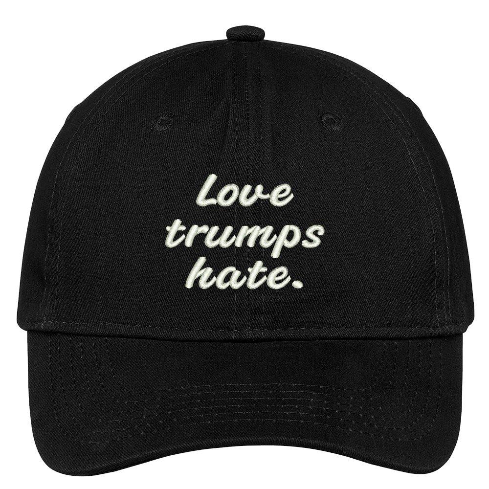 Trendy Apparel Shop Love Trumps Hate Embroidered Soft Low Profile Adjustable Cotton Cap - Black