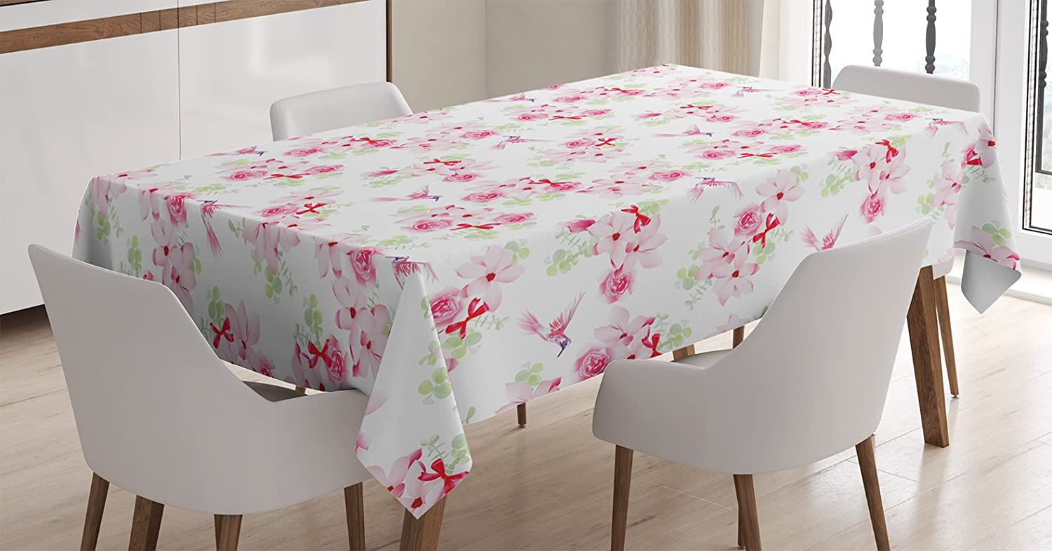 Ambesonne Hummingbirds Tablecloth, Hummingbirds and Bouquets with Magnolias Roses Pattern Floral Print, Rectangular Table Cover for Dining Room Kitchen Decor, 60