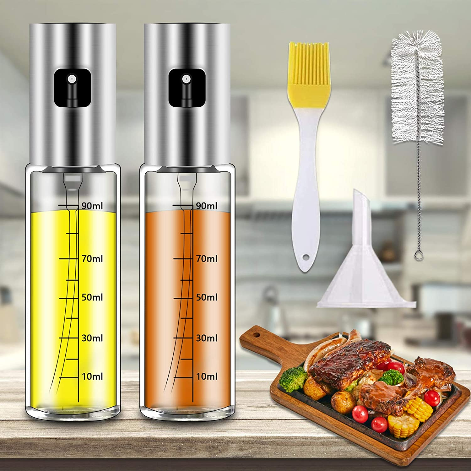 Oil Sprayer For Cooking, Oil Mister Food-grade 100ml / 3.4 Oz Transparent Olive Spray Glass Bottle With Scales Fine Mist Sauce Dispenser (2 Sprayers, 1funnel, 1 cleaning brush, 1 oil brush include)
