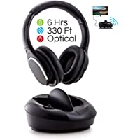 Wireless Over-Ear TV Headphones with Charging Dock, 2.4GHz RF TV Headset, 330ft Range, Digital Optical Input, Light Weight and Extra Padding for Superior Comfort, Easy Set Up, 6 Hour Battery Life