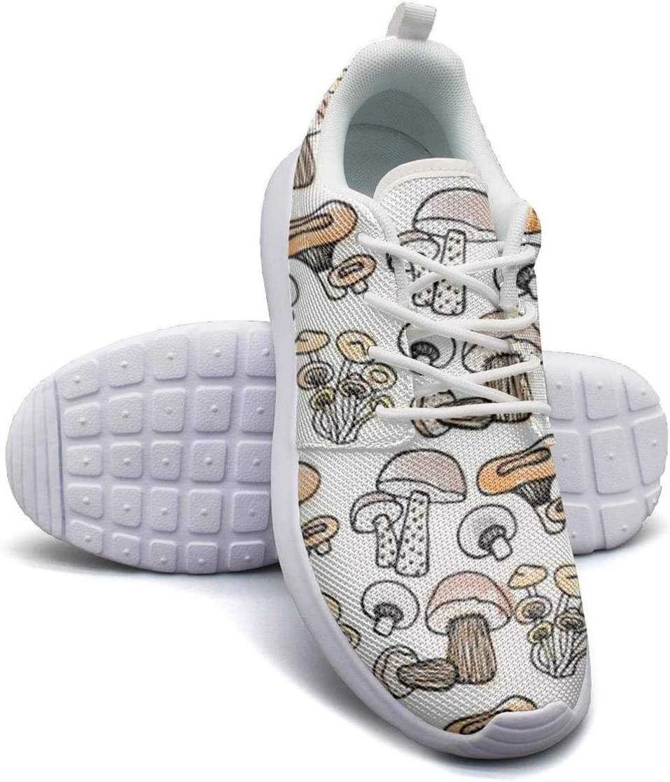 VXCVF Hand Drawn Mushrooms Male Basketball Sneakers for Mens Highly Breathable Athletic