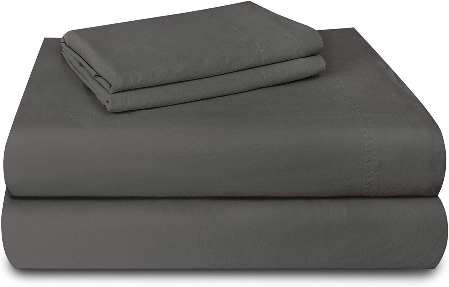 "Laundry by Design - Soft & Smooth, Pre-Shrunk 4 Piece Cotton Sheet Set, Fits Upto 16"" DEEP Pocket, Luxury Hotel Bedding, (Dark Gray, Queen)"
