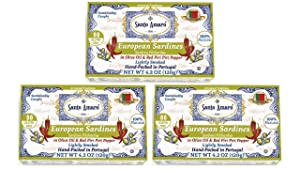 SANTO AMARO Hot & Spicy! European Wild Sardines in Olive Oil & Red Piri Piri Pepper (3 Pack, 120g Each) Lightly Smoked - Peri Peri - Natural - Canned Wild Sardines - GMO FREE - Hand Packed in PORTUGAL