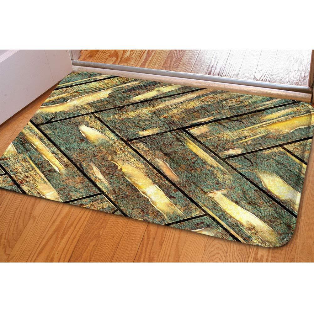 HUGS IDEA Rustic Antique Wooden Board Doormat Soft Carpets Floor Mat/Cover Floor Indoor/Outdoor Area Rugs,Soft Garden Office Door Mat, Kitchen Dinning Living Bathroom Entry Rugs