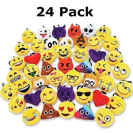 alotm 24 unidades al azar Mini Emoji Llavero de peluche ...