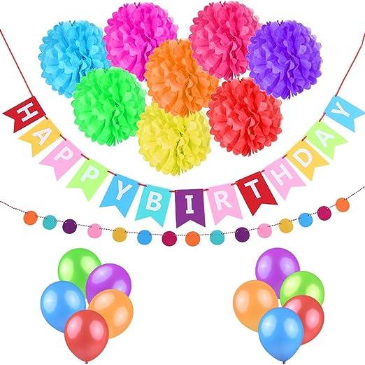 esonmus Juego de adornos de decoraciones para fiesta y feliz cumpleaños Pack de 10 Multicolor: Amazon.es: Hogar