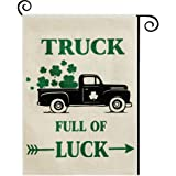 DOLOPL St Patricks Day Garden Flag 12.5x18 Inch Double Sided Decorative St.Patrick's Day Green Shamrocks Black Truck…