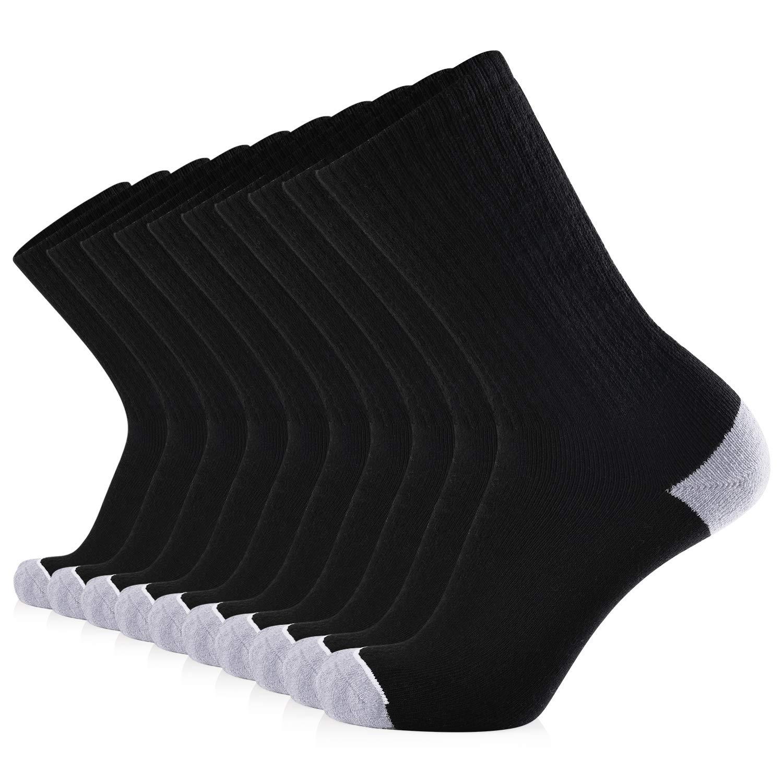 JOURNOW Men's Cotton Moisture Wicking Extra Heavy Cushion Sport Hiking Working Crew Socks 10 Pairs (10-13, Black) by JOURNOW