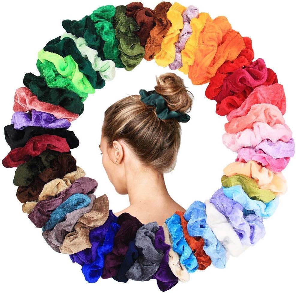 40 Unids Gomas para el Cabello Velvet Elastic Hair Bandas de Goma Gomas para el Cabello Gomas para el Pelo Cuerdas Gomas para el Pelo-40 colores surtidos Pony Tail Holder