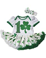 St Patrick Day Baby Dress 1st Leaf White Bodysuit Clovers Tutu Romper Nb-18m