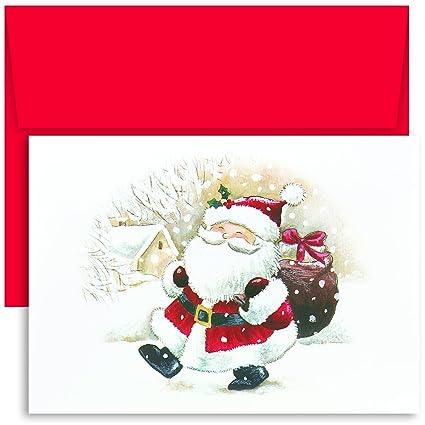 masterpiece studios holiday collection boxed cards happy santa 18 cards18 envelopes - Santa Cards
