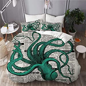SUHOM Duvet Cover Set,Octopus Newspaper Classifieds with Words Ocean Creature Vintage StyleDecorative 3 Piece Bedding Set with 2 Pillow Shams King Size