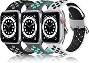 Nofeda Compatible with Apple Watch Band 40mm 38mm for Women Men, Waterproof Breathable Silicone Sport Watch Band for iWatch SE Series 6 5 4 3 2 1, M/L