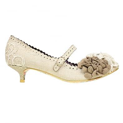 3a07f88b22c9 Irregular Choice Daisy DayZ Ivory Vintage Retro Kitten Heel Wedding Shoes   Amazon.co.uk  Shoes   Bags