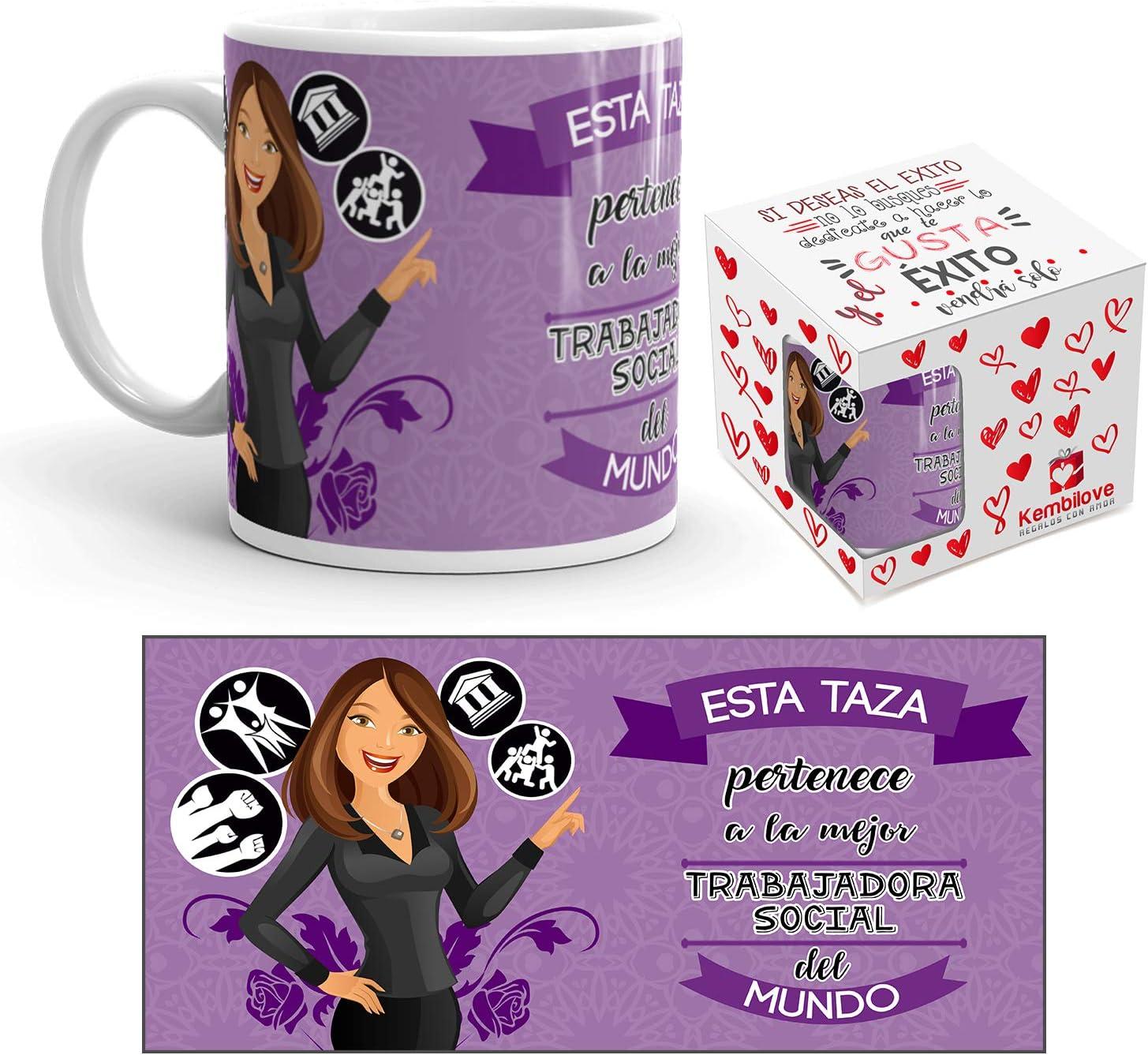 Kembilove Taza de Café de la Mejor Trabajadora Social del Mundo – Taza de Desayuno para la Oficina – Taza de Café y Té para Profesionales – Taza de Cerámica Impresa – Tazas para Trabajadoras sociales