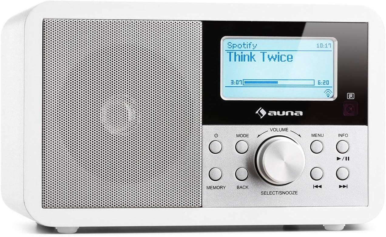 auna Worldwide Mini - Radio Internet, Dab, Dab+, FM, Puerto USB, Altavoz Mono 2 vatios, WMA, Wi-Fi, Reproduce MP3, AUX, RDS, Temporizador, Alarma Dual, Pantalla LCD, Blanco Floral