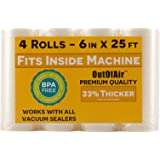 "6"" x 25' Rolls (Fits Inside Machine) - 4 Pack (100 feet total) OutOfAir Pint Vacuum Sealer Rolls. Works with FoodSaver…"