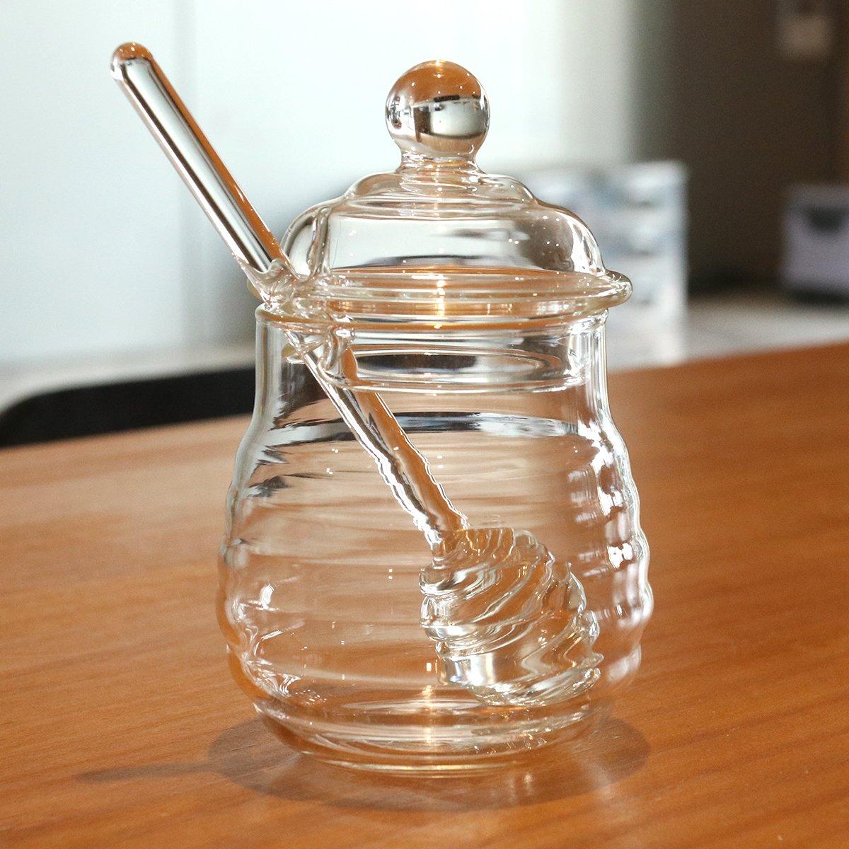 BESTOMZ of Glass Honey Jar//Pot Of Honey//Jam Pot with Ladle 250/ml Transparent
