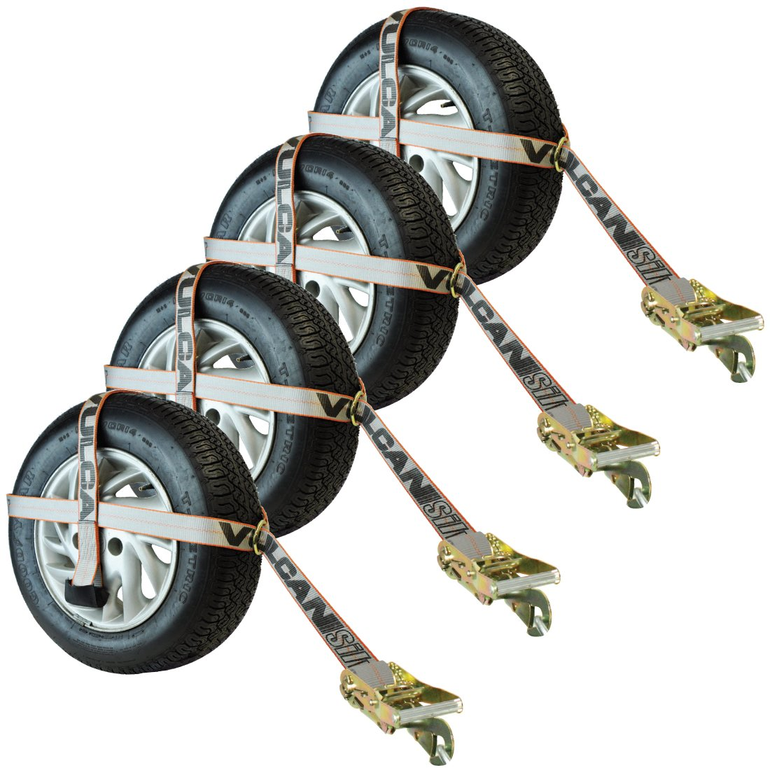 Vulcan Silver Series Basket Style Auto Tie Down w/ Adjustable Loop and Snap Hook (Pack of 4) Safe Working Load - 3300 lbs.
