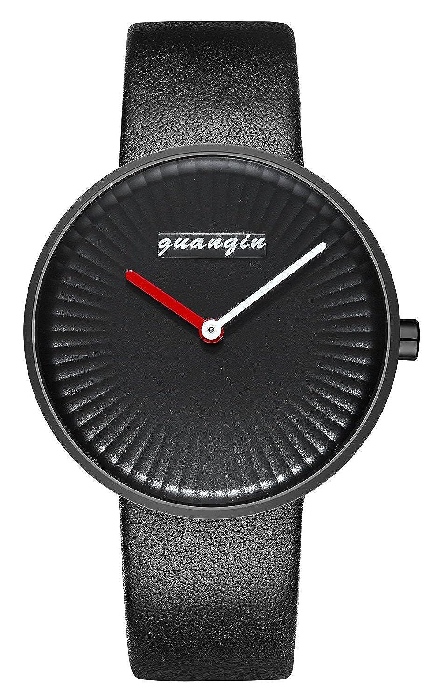 メンズウォッチ超薄型ダイヤルクォーツ腕時計ファッションクリエイティブレザーストラップ腕時計 B075S1NVKR