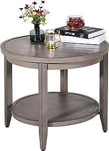 "Love & Peace 24"" Outdoor Patio Side Table Aluminum Round Coffee Tea Bistro Table Side End Outdoor Furniture Table/W Slat Shelf, Slat Top, Diameter 24"", Tan"