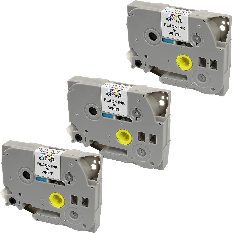 compatible pour Brother P-Touch PT-1000 1000P 1000BTS 1005 1010 1090 2030VP 2430PC 3600 9600 D200 D200VP D200BW D210 D210VP D400 D400VP D450VP D600VP E100 E100VP E300VP E550WVP 3 Cassettes Rubans d/étiquettes TZe231 TZ231 noir sur blanc 12mm x 8m
