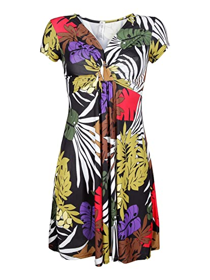 12c120c62fa6 SOLADA Vestito corto a maniche corte in fantasia colorata  Amazon.it   Abbigliamento