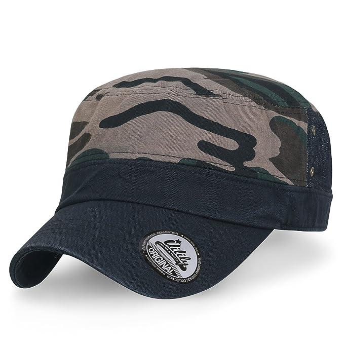 b9a5102336986 ililily Camouflage Cotton Flat Top Military Army Hat Strapback Radar Cadet  Cap
