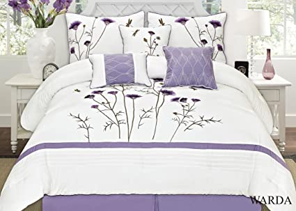 1ef568b27bf Amazon.com  Fancy Collection 7-pc Embroidery Bedding Off White ...