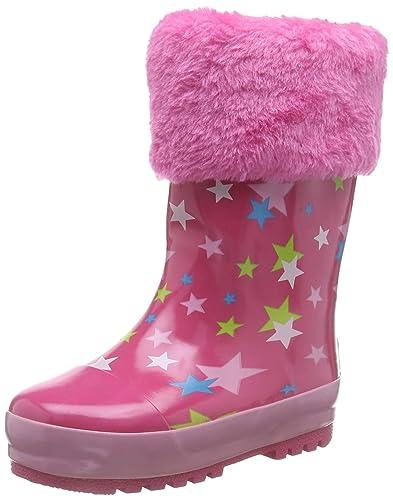 Playshoes Kinder Gummistiefel aus Naturkautschuk, warme Mädchen Regenstiefel mit Innenfutter, mit Sternen Muster