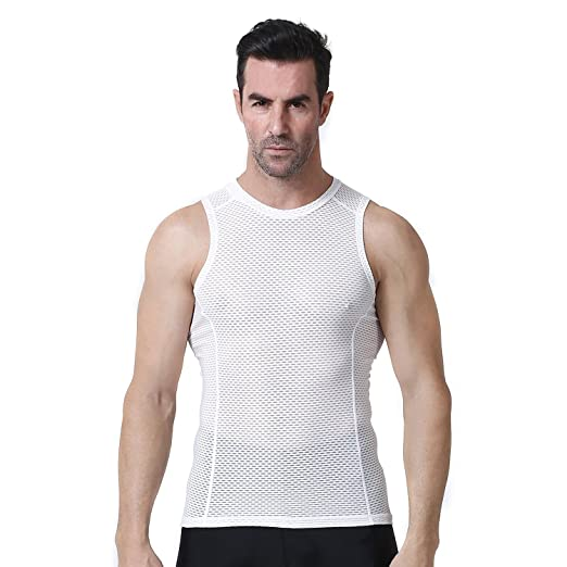Yianerm Outdoor Sports Men s Quick Dry Sleeveless Cycling Base Layer Tank  Top Vest White d2acf2f8f