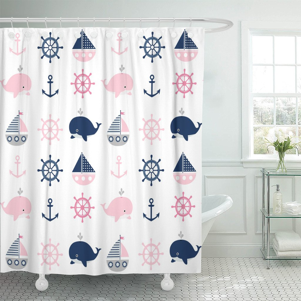 TOMPOP Shower Curtain Blue Abstract Cute Nautical Pattern with Whales and Boats for Children Gray Anchor Animal Waterproof Polyester Fabric 72 x 72 inches Set with Hooks